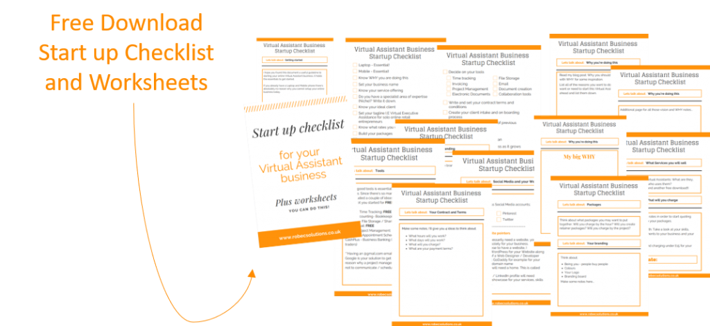 Start up checklist for your Virtual Assistant Business plus worksheets